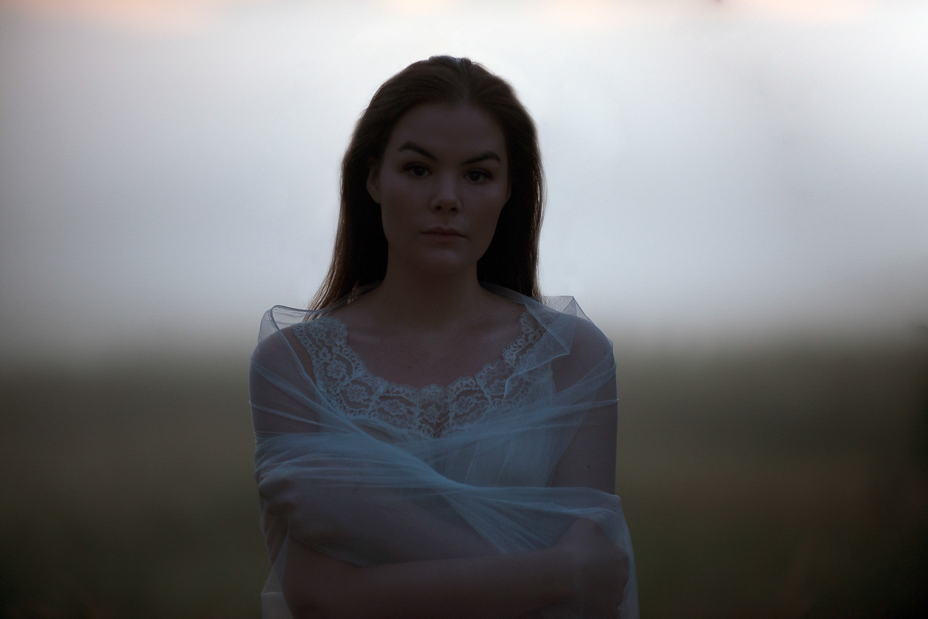 Portrait at dawn white dress concept photograph art ghost
