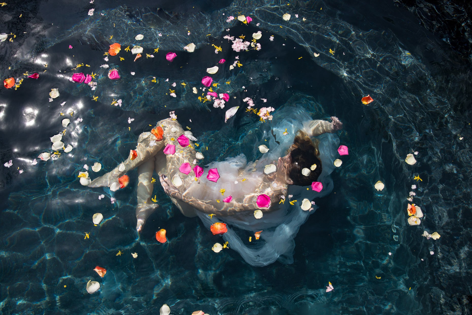 Conceptual portrait photography Nude woman submerged water flower
